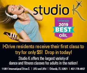 I-Drive residents receive first class for $5! Studio K offers the largest variety of dance and fitness classes for adults.